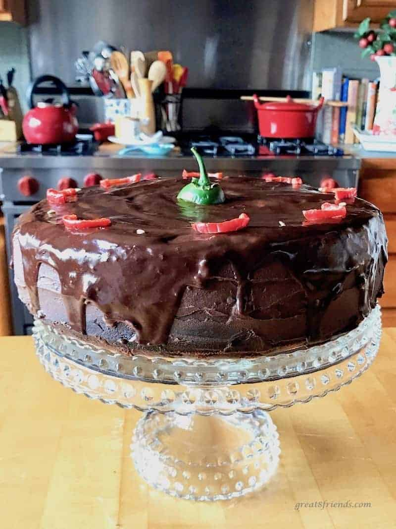 This Spicy Chocolate Cake with Jalapeño Fudge Frosting is the perfect dessert. The slight spice is a lovely complement to the fudginess.