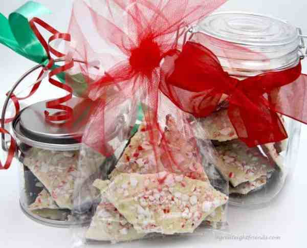 Peppermint Bark wrapped as a gift