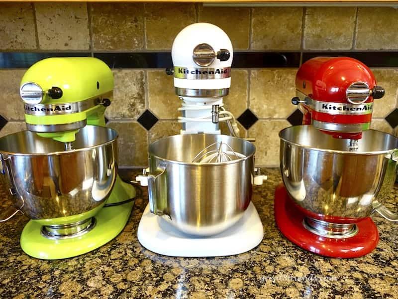 Three KitchenAid Mixers, one of our favorite kitchen tools.