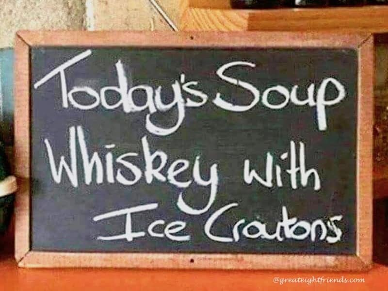 Clink then drink whiskey ice croutons