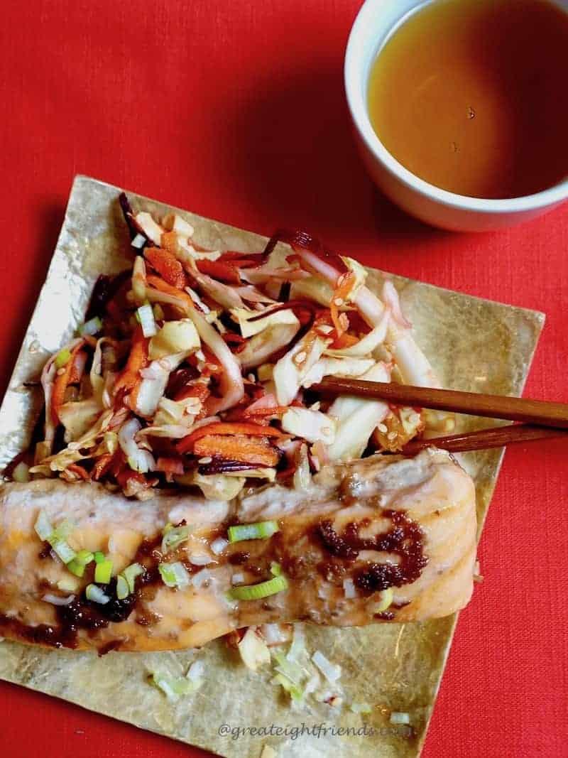 Chinese new year salmon beet slaw