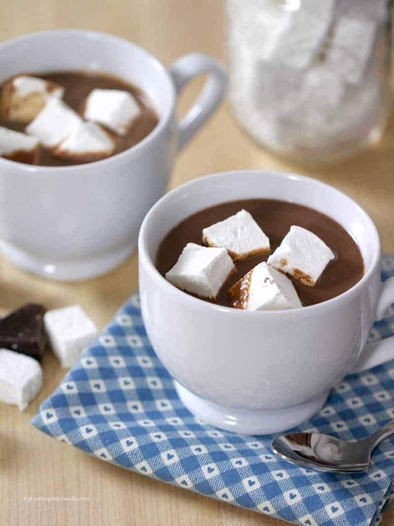 Warm yourself up with a mug of Heavenly Hot Chocolate and go above and beyond by making and gifting a jar of delicious cocoa mix!