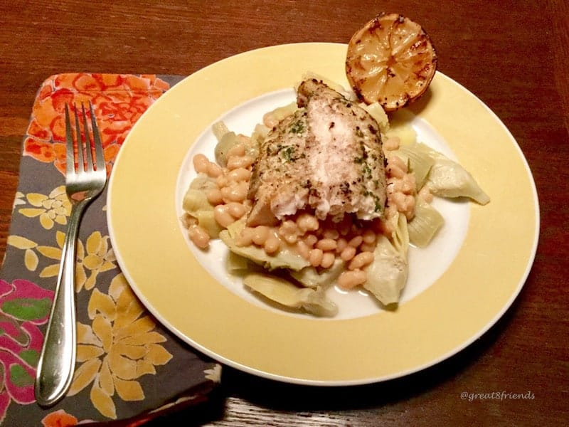 Grilled Sea Bass with Lemon, White Beans and Artichokes