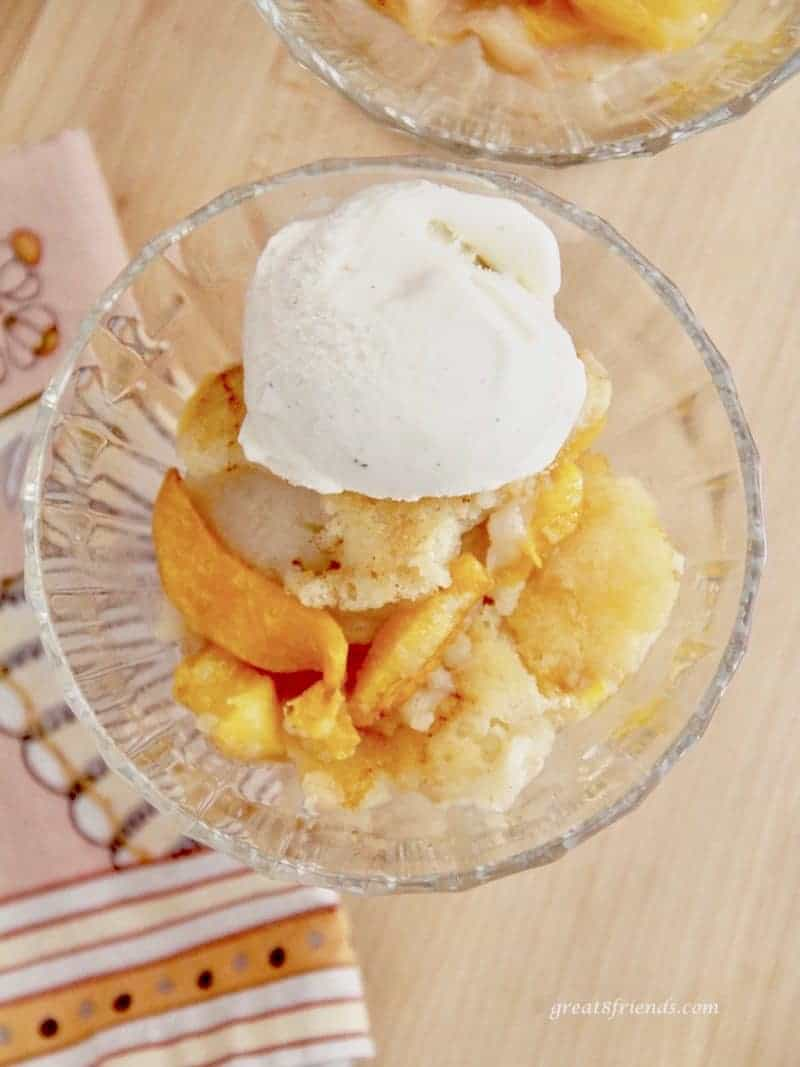 This peach cobbler is unique; the dough goes on the bottom of the pan and the peaches on top, the pastry then takes on the flavor of the fruit as it bakes.