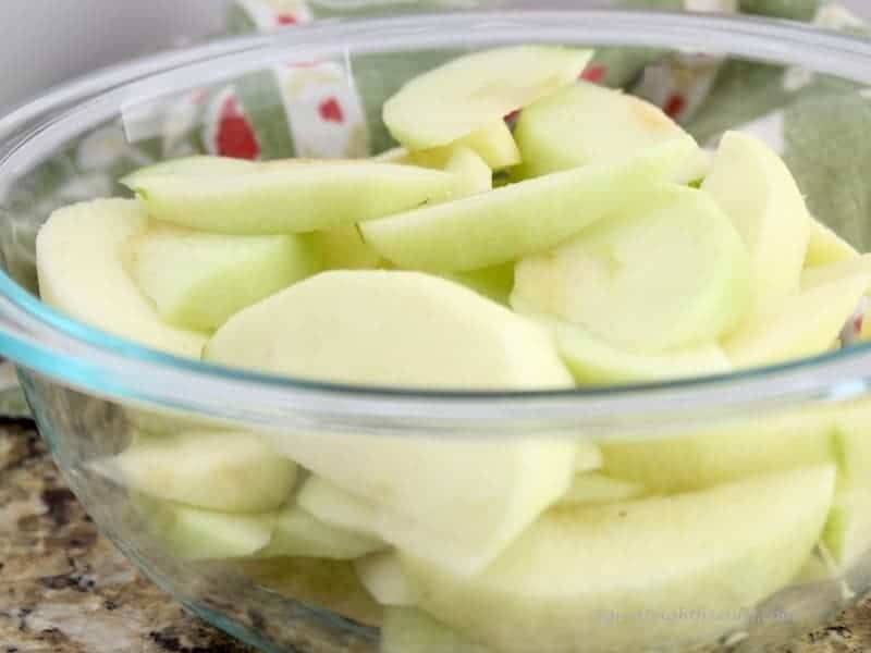 Sliced apples in a bowl.