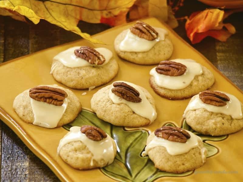 Pumpkin Cookies on an autumn themed tray.