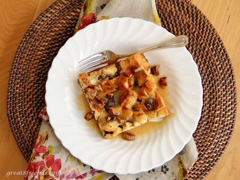 With just a few ingredients, this Bread Pudding with Praline Sauce is a dessert that is simple sweetness and real comfort food!