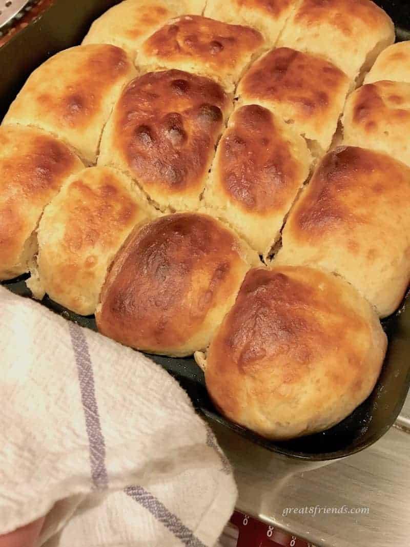 Baked Hawaiian Bread Rolls in the baking pan.