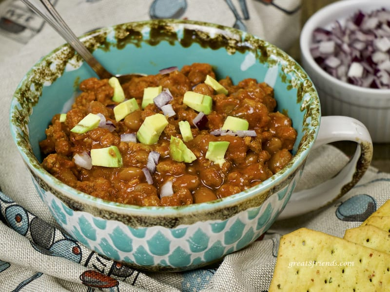 Instant Pot Chili with Beans in a large mug.