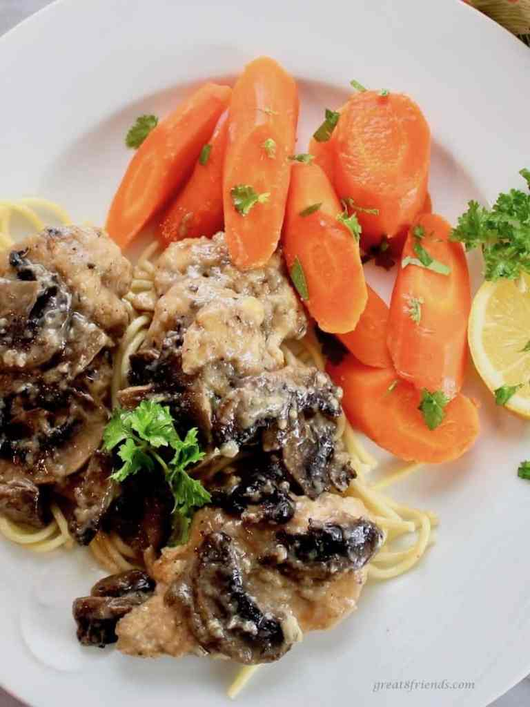 Honey Glazed Carrots with Baked Chicken Scallopini