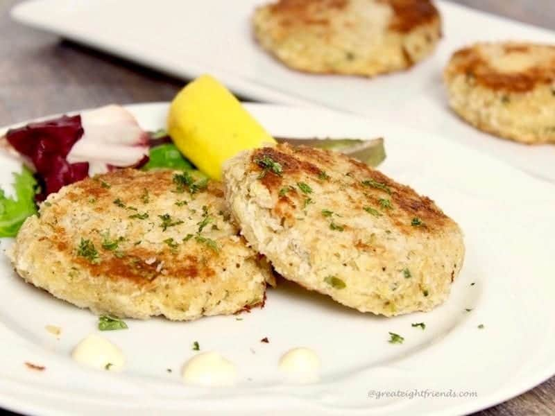 Crab Cakes served as a main course or as an appetizer.
