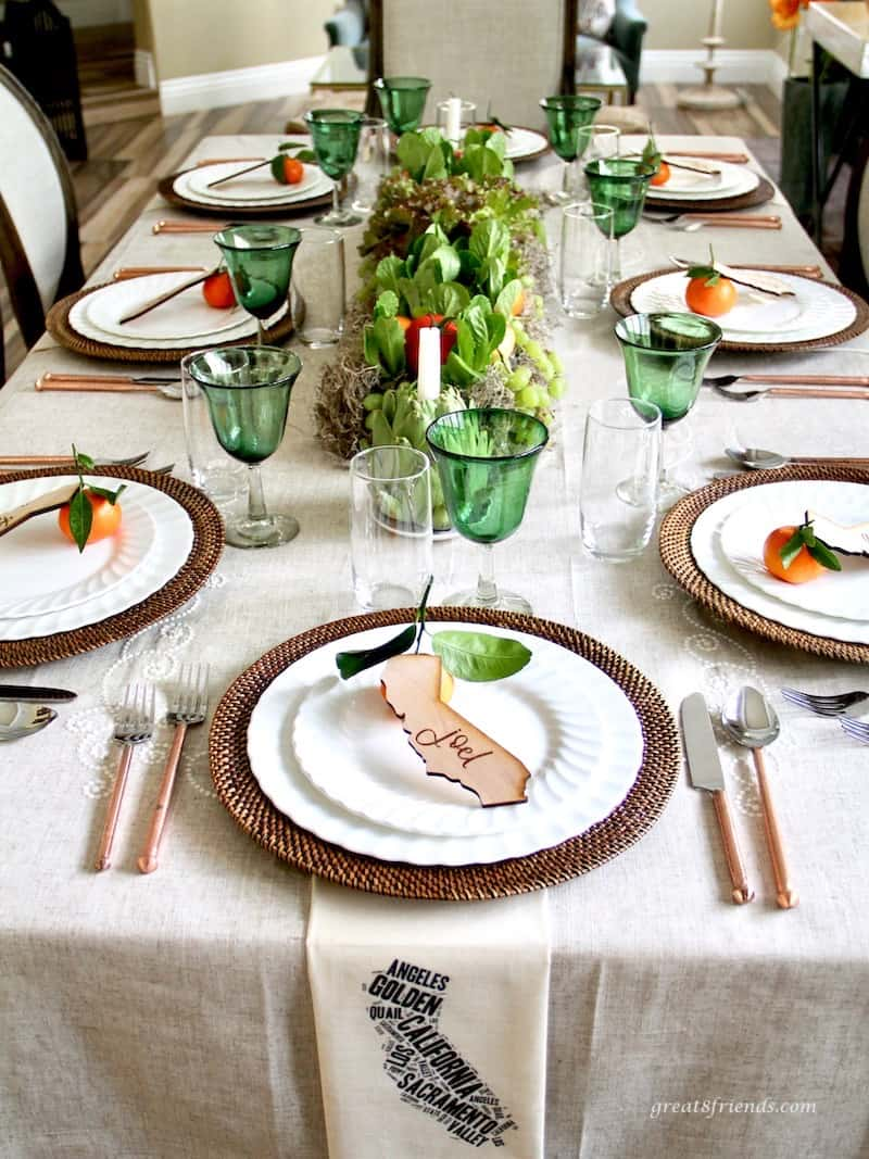 California themed dinner table with live lettuce centerpiece