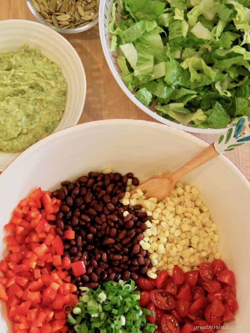 Ingredients for a Black Bean Salad with Avocado Lime Dressing.