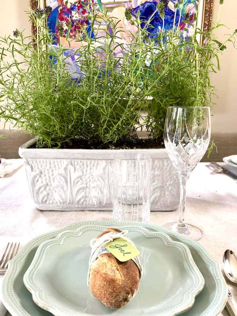 One place setting and lavender centerpiece for Provence Dinner Party.