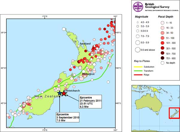 BGS NZ earthquake map - Greater Auckland
