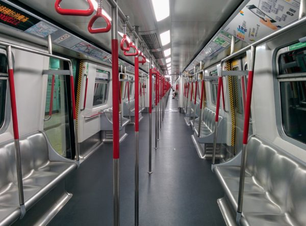 Inside of near empty MTR train at the end of service