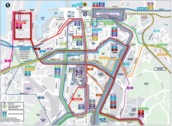 Map of city centre bus network