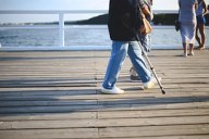 person with cane