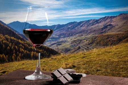 Red wine and chocolate tasting in the countryside - DepositPhotos.com