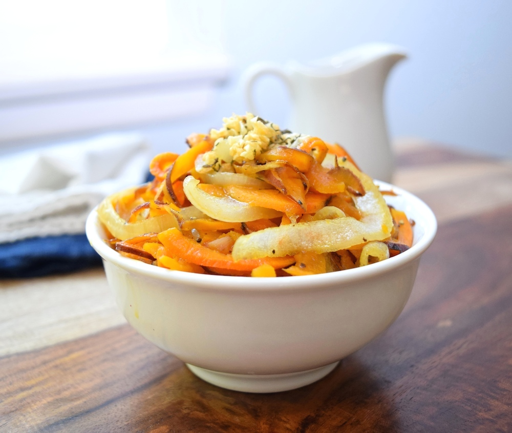 Spiralized Sweet Potatoes With Garlic And Onions • Great