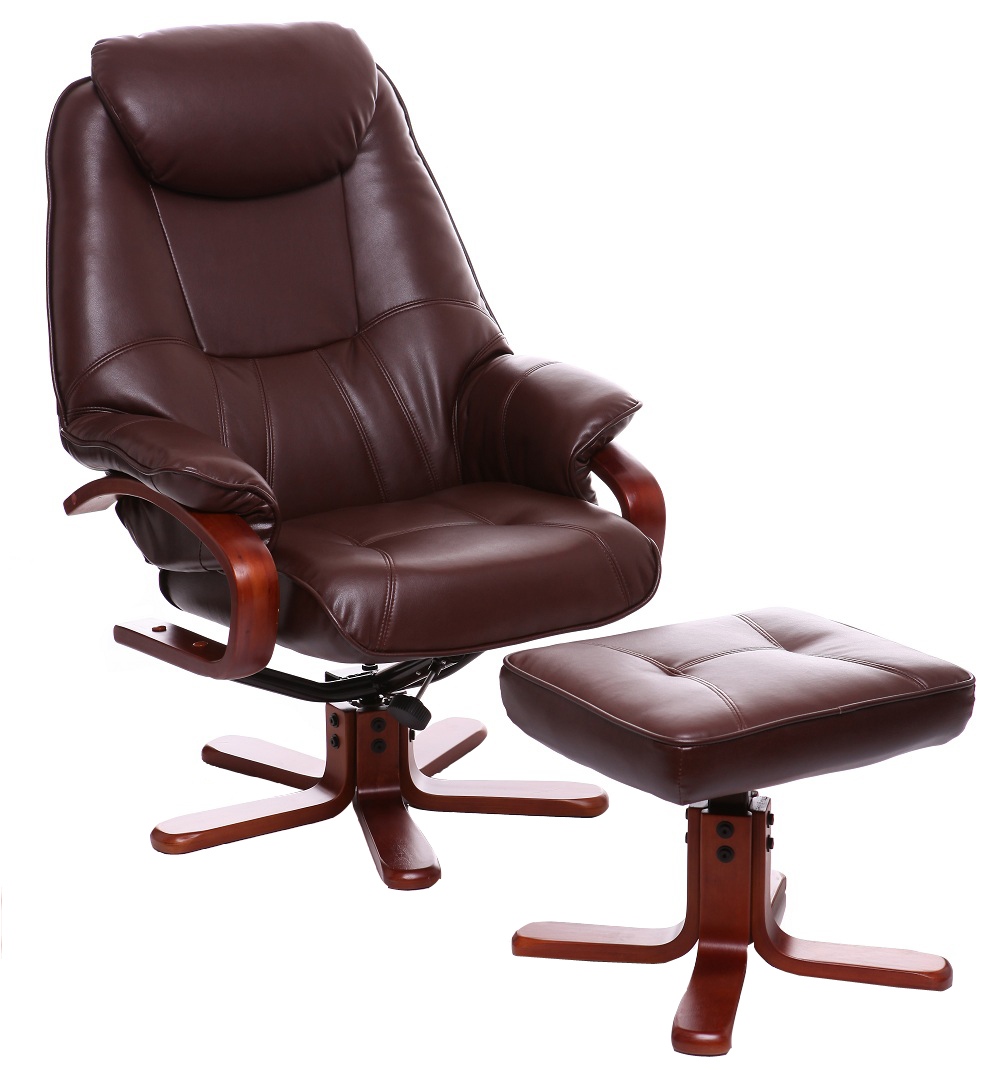 brown leather tub chair with footstool big joe lumin and | shop for cheap chairs save online