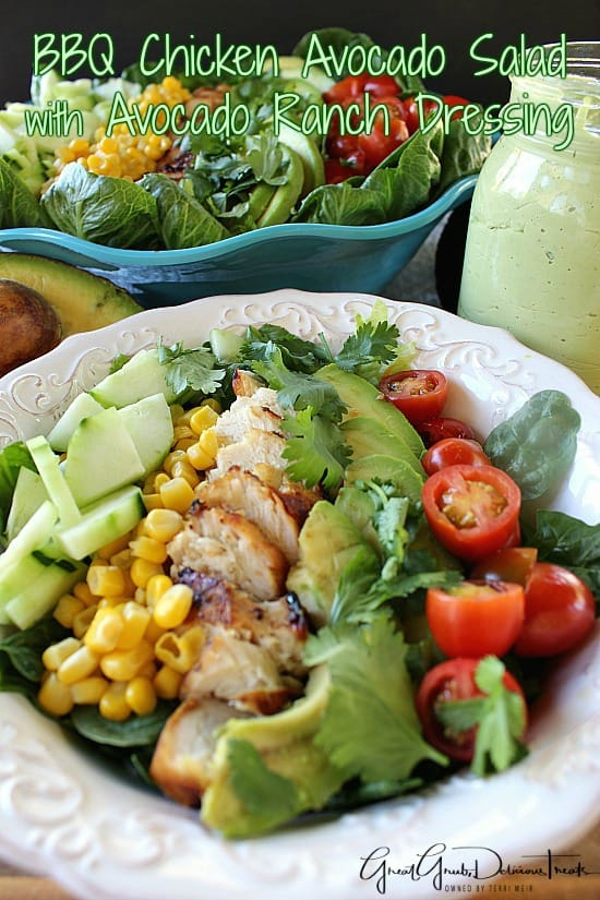 BBQ Chicken Avocado Salad with Avocado Ranch Dressing
