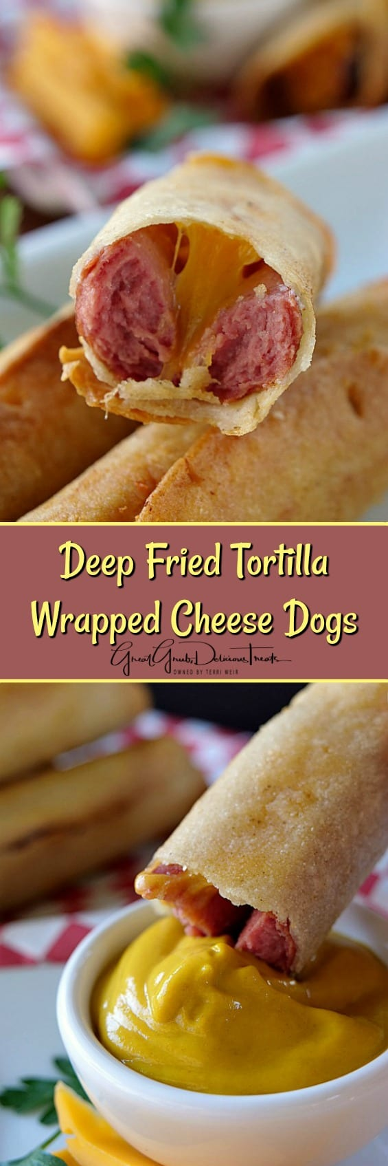 Deep Fried Tortilla Wrapped Cheese Dogs