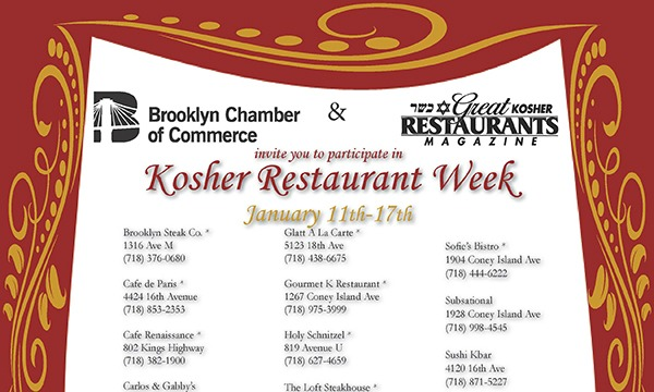 Brooklyn Kosher Restaurant Week SunSat Jan 11th17th