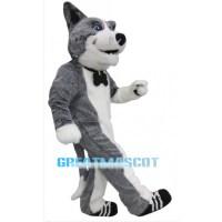 Cute Grey Dog Mascot Costume