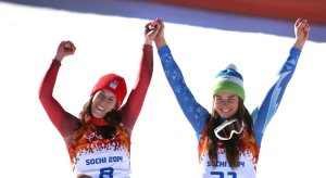 Two skiers tied for first (image: New York Times).