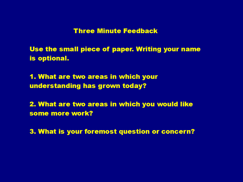 3 minute feedback revision