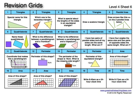 revision grids level 4 great maths teaching ideas. Black Bedroom Furniture Sets. Home Design Ideas