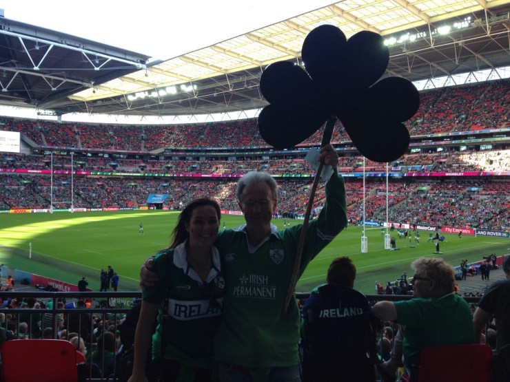 Paul and Lily with Shamrock in Wembley