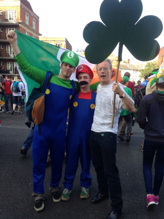 Super Mario Brothers embrace the shamrock