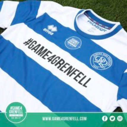Olly Murs with QPR Grenfell shirt