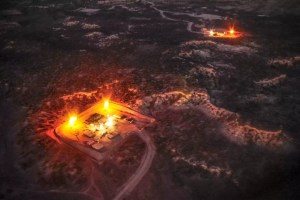 Aerial view of a gas flare