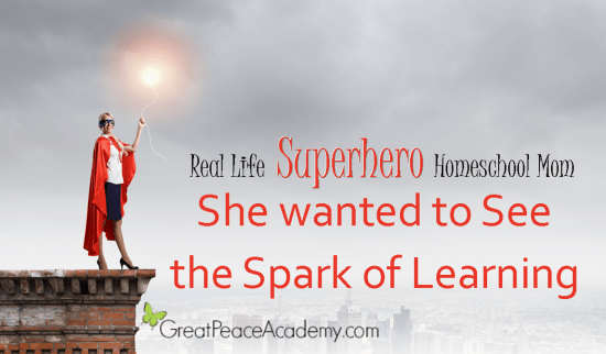 Real Life Superhero Homeschool Mom: She wanted to see the spark of learning.   Great Peace Academy