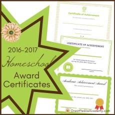 2016-2017 Homeschool Award Certificates | Free Printables | GreatPeaceAcademy.com #ihsnet #homeschool