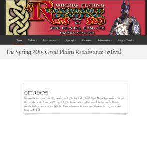 Great Plains Renaissance Festival Website in mid-redesign, Spring 2015