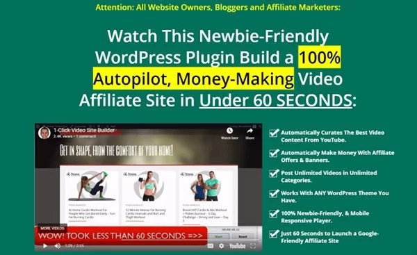 WP 1 click video site builder