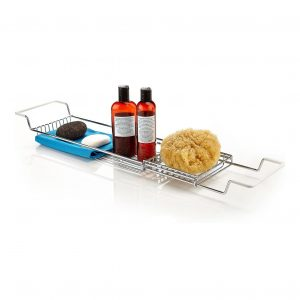 Home Intuition Stainless Steel Expandable Bathtub Caddy Tray