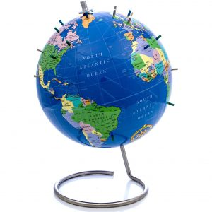 Bullseye Office World Globe with Magnetic Pins (Blue)