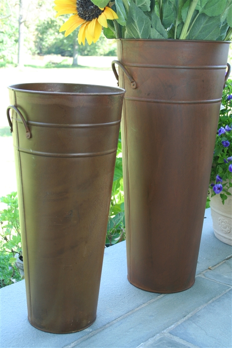 Rust French Flower Bucket 13  Tall Metal Florist Containers