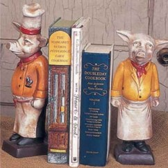 Kitchen Countertop Shelf Design Cheap Chef Pig Bookends - French Country Decor