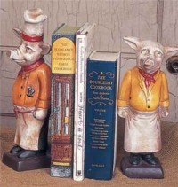 Chef Pig Bookends - French Country Kitchen Decor