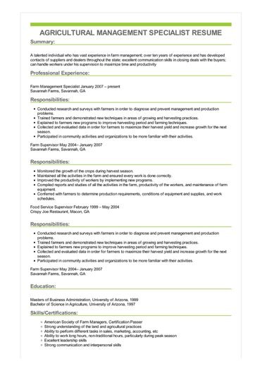 Sample Agricultural Management Specialist Resume