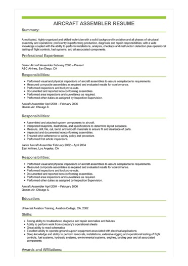 Sample Aircraft Assembler Resume