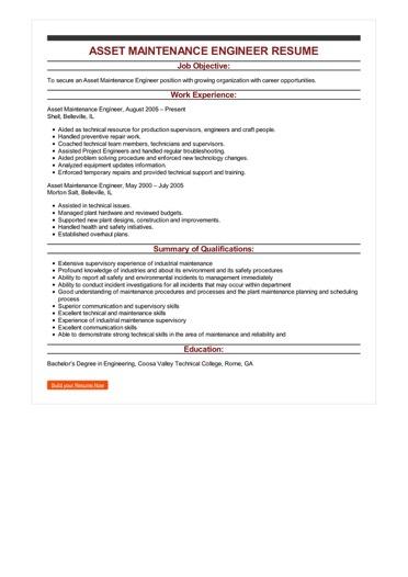 Sample Asset Maintenance Engineer Resume