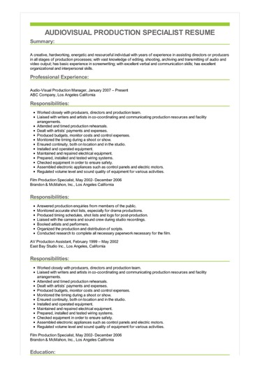 Sample Audiovisual Production Specialist Resume