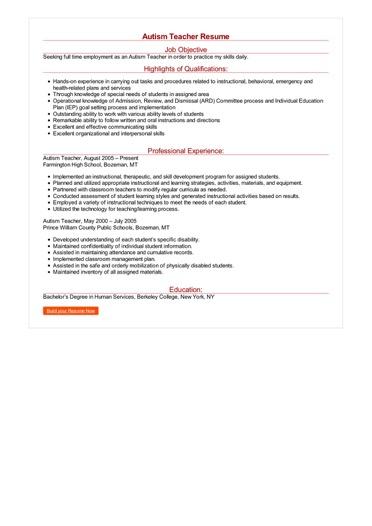 employment resume sample